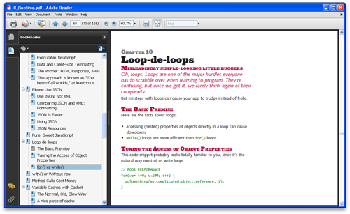 Table of contents: Adobe Reader
